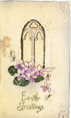 Vintage Easter Greetings card embossed with gold foil; Extraordinary vintage Victorian Easter greeting card;  I have never seen one like this; very collectible look at the details