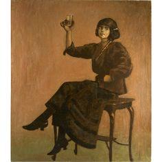 Splendid Antique French Oil Painting, c.1890-1910 Cabaret Bar Girl, Interior  -- found at www.rubylane.com @rubylanecom #vintagebeginshere #art