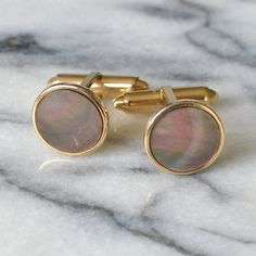 Perfectly Pink - ATCTTeam - Mother of Pearl Cufflinks  Gold Tone fittings set with Dark Mother of Pearl - T Bar - 1950s - Gift Boxed by MrWickstead, Vintage  Accessories  Cuff Links  Cufflinks  Mid Century  Mother of Pearl  Circle  T Bar  Gold  Gift Box  UK Mr Wickstead  ATCTteam  Wicksteads  Buttons  pink