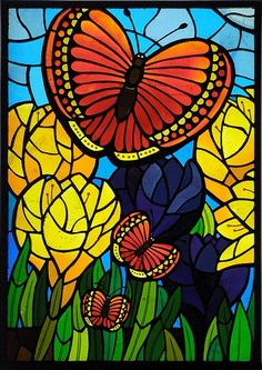 stained glass - butterflies