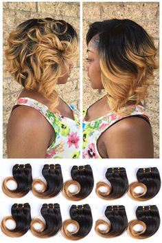 $30.99/10 bundles 8 inch Short Curly Remy Hair Weaves Color 1B 27,moredetails,ombre hair is all the rage this season@ http://amzla.com/s4xfancnzj1y