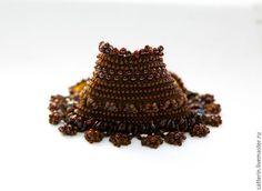 Crochet cuff, Beaded crochet cuff, Crochet bracelet, brown cuff, Boho style bracelet, Handmade crochet cuff, cuff, Bohemian jewelry, crochet with beads, вязаный браслет, браслет крючком, браслет с бисером, вязание с бисером, браслет с натуральным камнем, catterinsart, catterinsБ браслет с гранатами