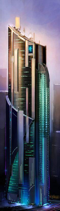 Megacorporation Bldg #FuturisticArchitecture #Architecture