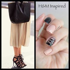 Nude and Black H&M Inspired Nails #corset