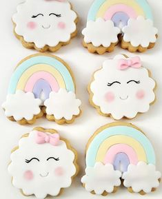 Baby Shower Sweets, Baby Shower Cookies, Cloud Baby Shower Theme, Unicorn Birthday Parties, 1st Birthday Girls, Rainbow First Birthday, Girl Birthday Decorations, Cookie Designs, Baby Party