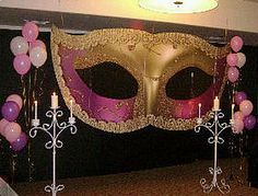 masquerade decorating ideas This Enchanting Mask Standee was amazing! It really made the party. masquerade game ideas For Nali Masquerade Ball Decorations, Masquerade Ball Party, Sweet 16 Masquerade, Masquerade Theme, Mardi Gras Decorations, Venetian Masquerade, Masquerade Centerpieces, Balloon Centerpieces, Wedding Centerpieces