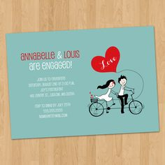 Tandem Bike Lovers Engagement Party Invitation Digital Printable ANY color ANY wording (printed cards available) Engagement Party Invitations, Wedding Invitation Design, Wedding Stationary, Teal Blue Weddings, Black And White Wedding Invitations, Tandem, Wedding Colors, Engagement Photos, Party Wedding