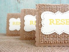 Mini RESERVED Wedding Table Cards SET of 4 Place Holder, Burlap Kraft Rustic Country Woodland, Custom Font and Color