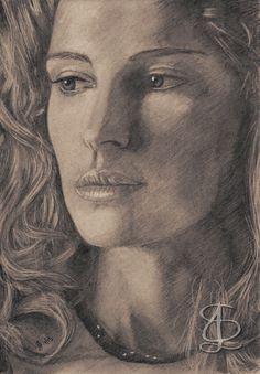 Freehand sketch of Natalie Portman using HB pencil and eraser. Darkened, tinted etc. digitally.