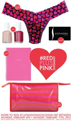 #redpluspink giveaway on {long distance loving} - $150 worth of Kate Spade, J.Crew, Hanky Panky, Sephora + Essie! // http://www.longdistanceloving.net/2013/02/redpluspink-giveaway.html
