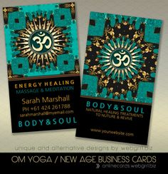just made! teal gold eastern sparkle om yoga business card Teal Eastern Sparkle OM Symbol Business Cards