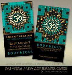 teal gold eastern sparkle om yoga business card Teal Eastern Sparkle OM Symbol Business Cards