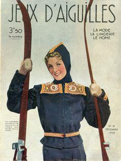"""Magazine """"Jeux d'aiguilles"""" n° 52 - décembre 1938 - couverture - tenue de ski rebrodée."""