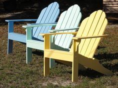 Adirondack chairs - we bought four of these for our outdoor fire pit...accept we saved a ton of money on them because we're staining them ourselves...LOVE these chairs!