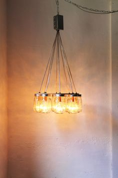 Mason Jar Chandelier  Upcycled Lighting Fixture  by BootsNGus, $180.00