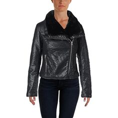 Wild Flower Womens Faux Leather Long Sleeves Motorcycle Jacket Black XS >>> For more information, visit image link.(This is an Amazon affiliate link and I receive a commission for the sales)