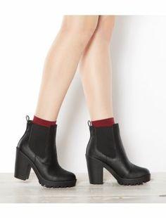 Black (Black) Black Cleated Sole Block Heel Chelsea Boots   302546401   New Look 14UK
