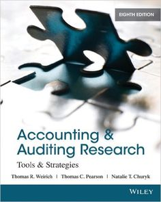 The 8th Edition of Accounting & Auditing Research: Tools & Strategies by Thomas R. Weirich, Thomas C. Pearson, and Natalie Tatiana Churyk builds upon previous issues with a continued focus on accounting curriculum, including Intermediate Accounting, Government and Non-Profit Accounting, Tax, Advanced Accounting, and Accounting Theory. It also focuses on how to perform accounting, auditing, tax, and business research in an ever changing accounting and auditing landscape.