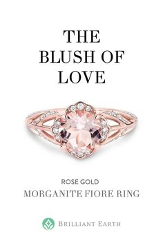 Blush pink morganites, treasured for their stunning hue and alluring clarity, are perfectly complemented by rose gold settings. Glistening pavé diamond leaves ascend to form a floral halo that encircles the center morganite in this resplendent ring.