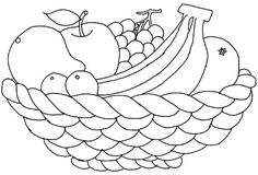 fruit basket coloring page is part of Fruit coloring pages - Vegetable Coloring Pages, Fruit Coloring Pages, Valentine Coloring Pages, Flower Coloring Pages, Coloring Book Pages, Coloring Pages For Kids, Fruit Basket Drawing, Hello Kitty Coloring, Barbie Coloring