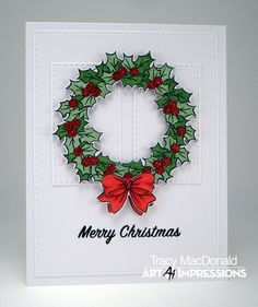 How about a pretty sparkly wreath from Art Impressions for today? The Christmas Wreath Set is perfect for that traditional Chri. Christmas Cards To Make, Christmas Art, Handmade Christmas, Holiday Cards, Christmas Wreaths, Xmas, Holiday Decor, Art Impressions Stamps, Card Making Inspiration
