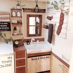 サニタリー 収納 Small Space Living, Small Spaces, Living Spaces, Toilet And Bathroom Design, Bohemian Kitchen, Shabby Chic Decor, Double Vanity, Storage Spaces, Interior