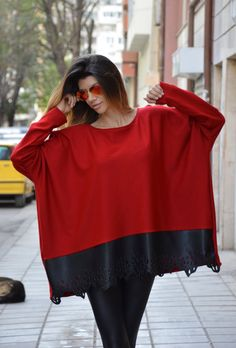 Oversized Loose Red Tunic / Maxi Blouse with Leather by SSDfashion