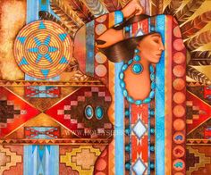 Navajo Weave A Native American Goddess por HollySierraArt en Etsy