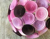 Large Bridal Bouquet in Pink Ombre, Vintage Inspired Paper Wedding Flowers, Purple to Light Pink Ombre, Pink Bridal Bouquet. $74.00, via Etsy.