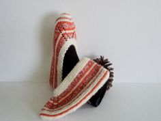 Hand knitted Slippers Wool Slippers White by GuestFromThePast