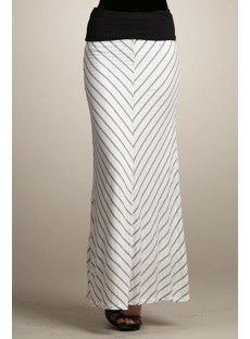 Banded Chevron Maxi Skirt