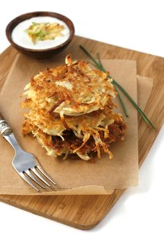 Red Onion & Russet Potato Latkes, with Cinnamon Apple Sour Cream...and they are gluten free!