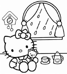 Hello Kitty Playing Inside Coloring Page
