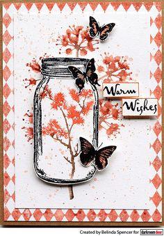 Darkroom Door Mini Mason Jar Eclectic Stamp. Card by Belinda Spencer