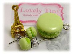 Kawaii Fashion Accessories Handmade Green Macaron Charms, Pendant and earrings.