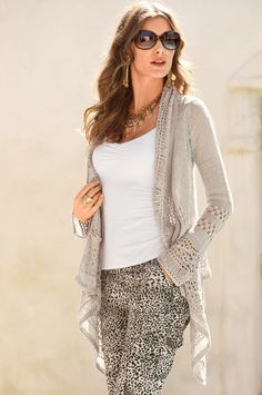 Crochet trim drapey cardigan