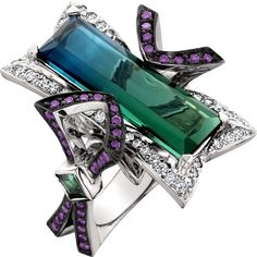 So creative!  We love this bi-colored tourmaline and purple and white diamond ring!