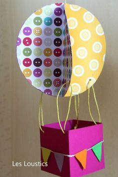 luchtballon knutselen Diy Projects For Kids, Paper Crafts For Kids, Diy For Kids, Art Projects, Arts And Crafts, Balloon Crafts, Crafts With Pictures, Ideas Geniales, Art N Craft