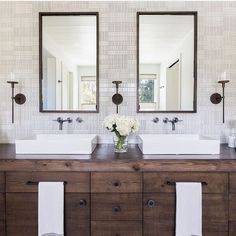 Love this vanity! Especially if we did all white, clean tile and finishes. The rustic wood warms up and softens the space