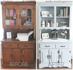Another with does removed. An easy DIY Hutch Makeover using Valspar Chalky Finish Paint in Trousseau Blue! Refurbished Furniture, Paint Furniture, Repurposed Furniture, Shabby Chic Furniture, Furniture Projects, Cool Furniture, Refurbished Hutch, Handmade Furniture, Furniture Design