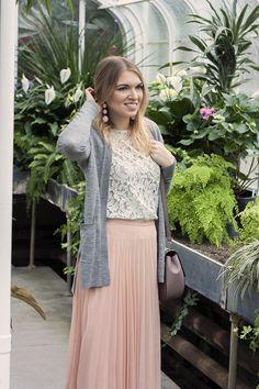 Blush Pink Pleated Skirt // With Love, Amanda