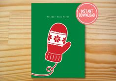 Holiday High Five Printable Christmas Card - 5x7 INSTANT DOWNLOAD by Danielle Robbins Designs