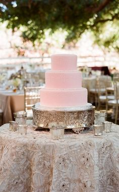 simple pink wedding cake by dianne