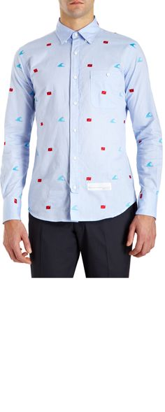 Thom Grey. Flag Embroidered Oxford Shirt