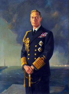 King George VI depicted in naval uniform with the stars of the Order of the Garter and the Order of the Bath.