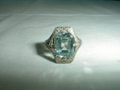 antique edwardian sterling aquamarine ring by qualityvintagejewels, $125.00