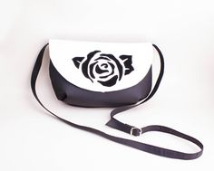 Cross Body Messenger Bag with rose design, Rose purse, Women's Mini Crossbody adjustable strap - Black White color vegan leather, Rose bag by volaris on Etsy