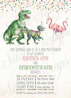 Watercolor Dinosaurs, Flamingos and Confetti Custom Joint Birthday Party Invitation - Hand Painted Boy Girl Twins Sibling Matching Back Side