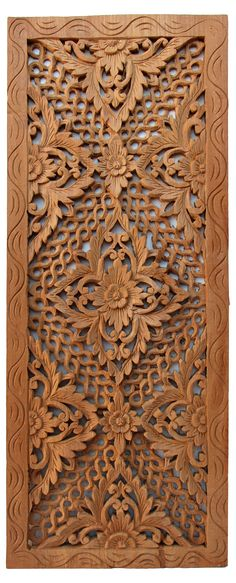 One Kings Lane - Asian Art Imports - Carved Teak Panel Modern Wooden Doors, Wooden Door Design, Wooden Art, Wood Design, Wood Sculpture, Sculptures, Wood Carving Designs, Islamic Art, Wood Paneling