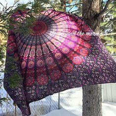Purple indian mandala tapestry, queen-size tapestry sheet, hippie sheet, wall tapestry, boho decor, dorm decor, bohemian bed sheet